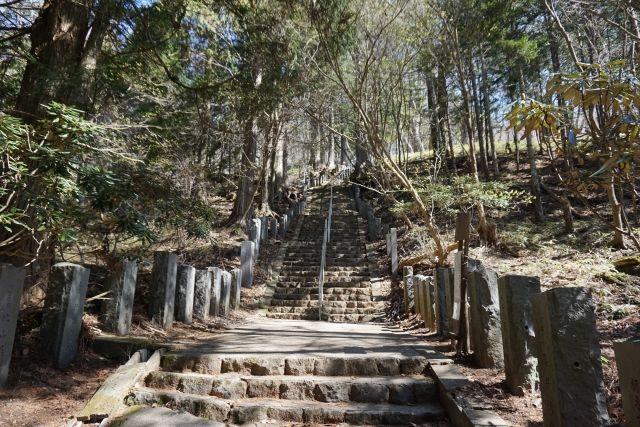 登拝門くぐると階段