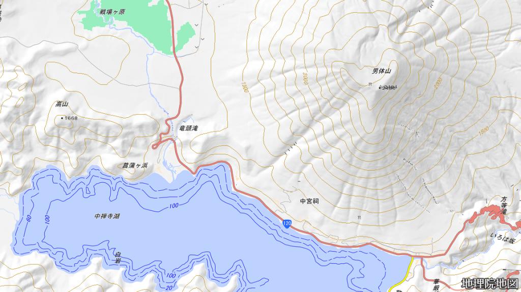 日光男体山 地図